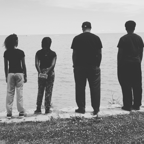 lake michigan - black and white